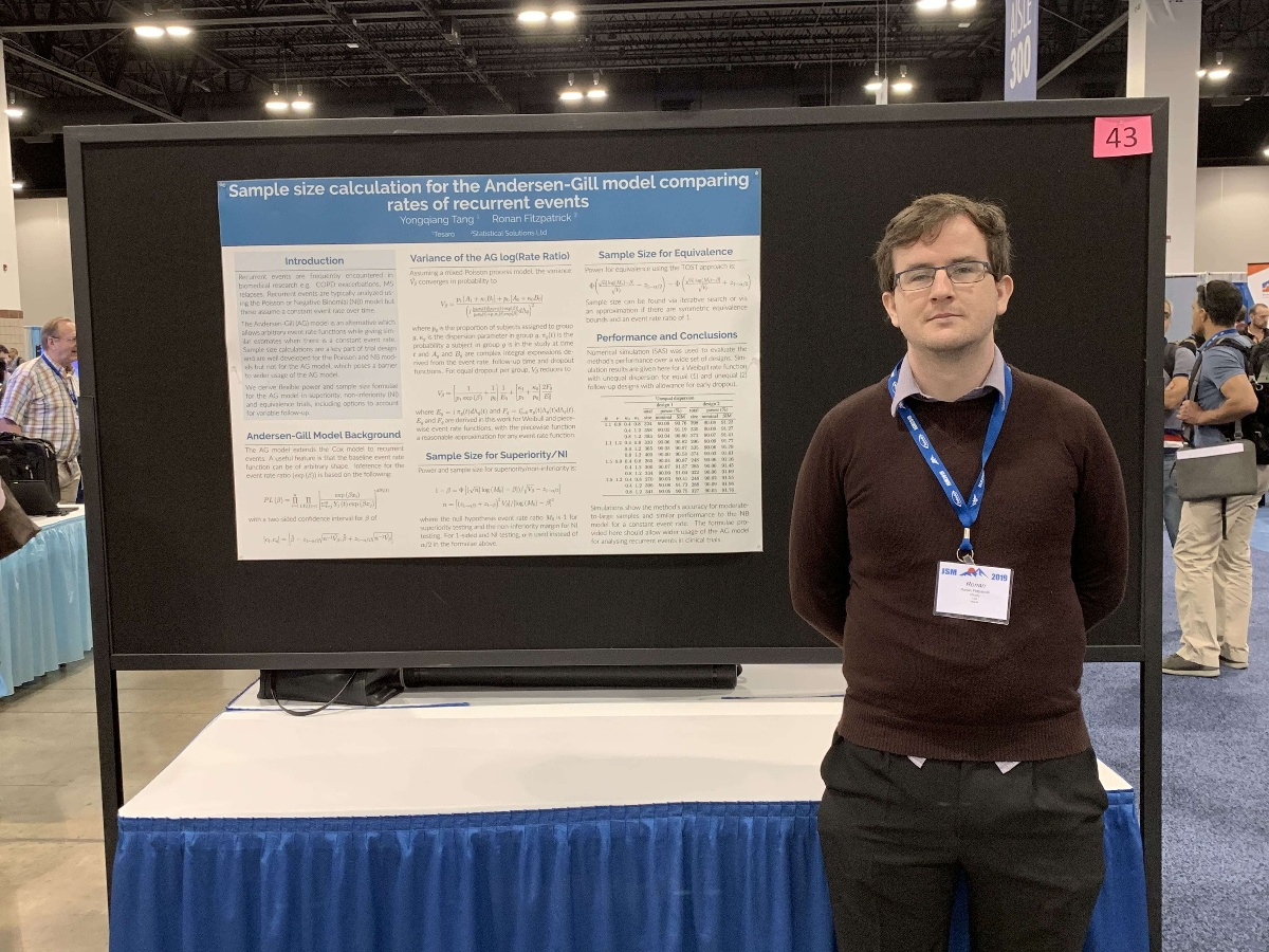 Ronan-Fitpatrick-presents-a-poster-session-JSM-2019-Sample-size-calculation-for-the-Andersen-Gill-model-comparing-rates-of-recurrent-events-Yongqiang-Tang-